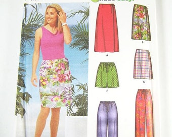 Simplicity Skirt Pattern 5965 - Misses' Wrap Skirt and Pants in 3 Lengths - SZ 14/16/18/20