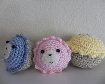 Amigurumi- Cupcake Bears (set of 3)