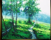 "Original Modern Palette Knife landscape wall decor Oil Painting on CanvasThe Green Ready to Hang by Qujun 20"" by 24"""