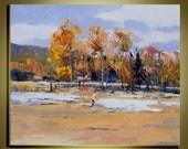 "Original Oil Painting Modern Palette Knife landscape fine art  on Canvas Beautiful  Birch Landscape  Ready to Hang 20"" by 24"""