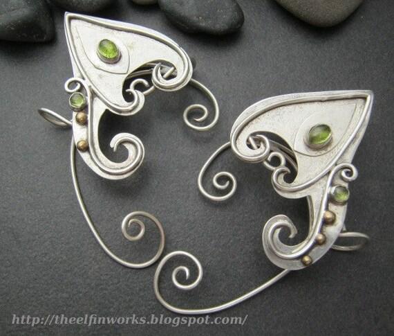 Sterling silver elf ear wraps, upper ear ornaments, green peridot gem stones, graceful pointed ears, handmade ear cuffs