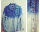 large, oversize, dip-dyed bleach ombre light denim button down vintage shirt