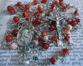 Unbreakable Sacred Heart Rosary - Fire Crackle Agate