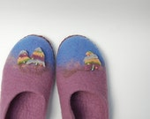 SALE felted wool slippers for women (some wider foot ) Christmas trees-natural health -eco living-8,5 -9 US