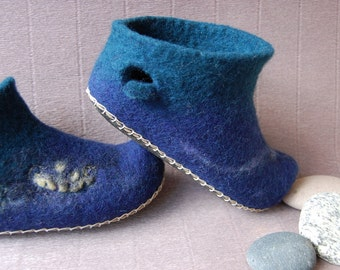 Felted wool slippers for  teens Boat ,house shoes ,handmade gift ,eco living 3 US