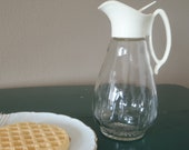 50s Syrup Pitcher with Plastic Spout and Handle/ Vintage house wares by Feisty Farmers Wife