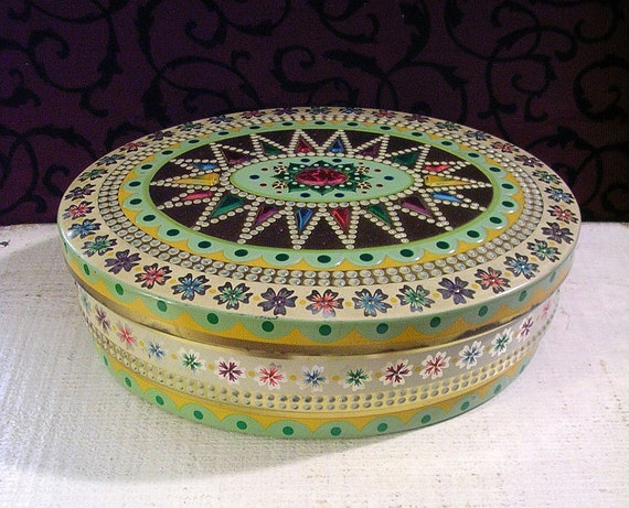 Pretty Vintage Tin - Oval with Embossed Jewel Like Motifs Pretty Pastel Colors