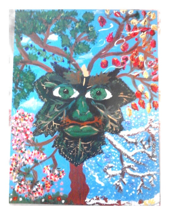 Celtic Greenman Original Acrylic painting 14x18