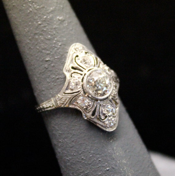 RESERVED - Edwardian 18k White Gold and Diamond Engagement Ring - .79 Carat Old European Cut Center - Right Hand Ring