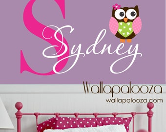 Owl Wall Decal - custom name decal - owl wall sticker - vinyl wall decal - nursery wall decal - name wall decal