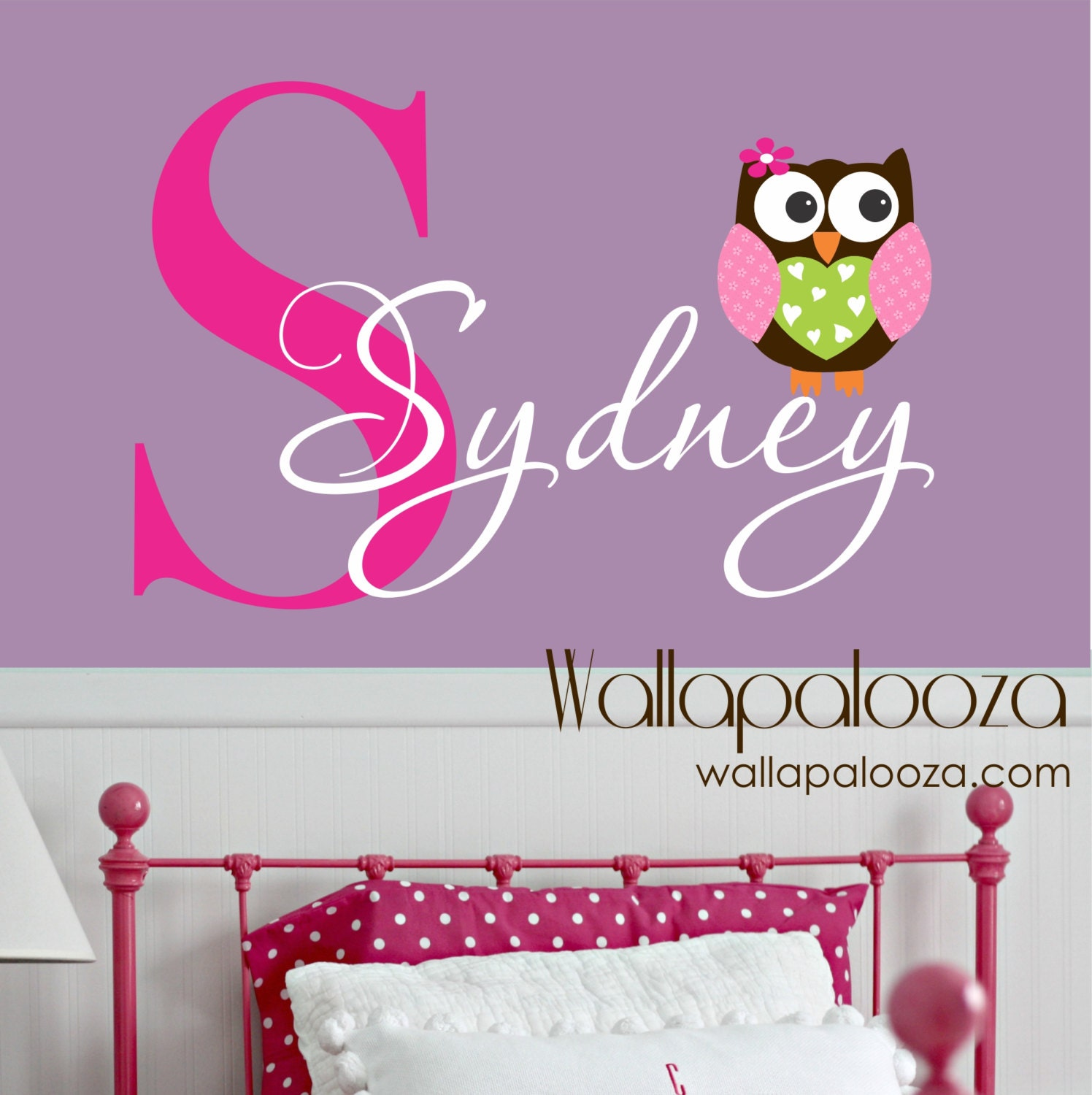 owl wall decal custom name decal owl wall sticker vinyl. Black Bedroom Furniture Sets. Home Design Ideas