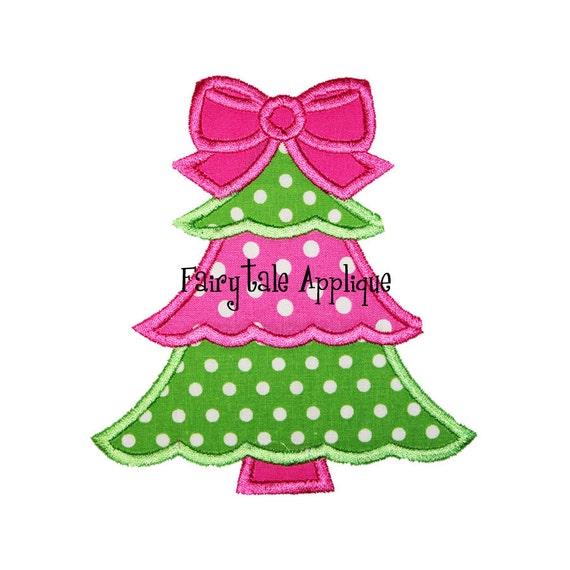 Digital Machine Embroidery Design - Girly Christmas Tree Applique
