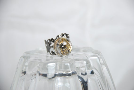 steampunk dome ring - resin - filigree ring