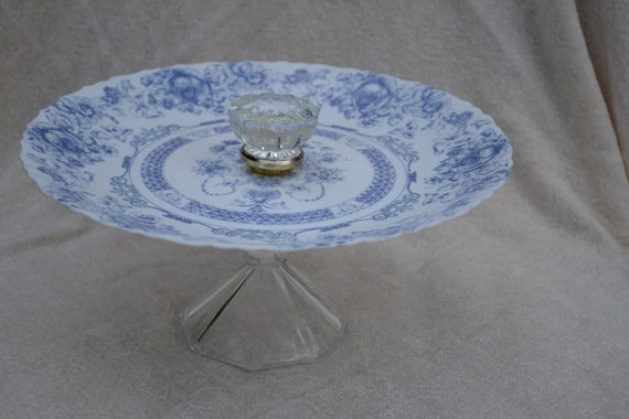 Ocean Blue elegance pedestal cake stand with glass base and door knob finial or custom made cake stands