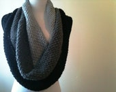 HandKnit Cowl in Light Grey, Charcoal, Black - Winter Wrap - Circle Scarf - Reversible - Made-to-Order