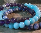 Amethyst, Larimar and Denim Lapiz 3 piece hand crafted bracelets