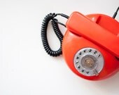 Vintage Rotary phone - orange - Vintage Home Decor