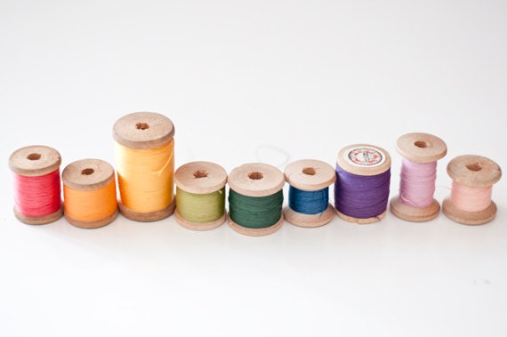 Vintage wooden spools with thread - rainbow colors - made in Soviet Union