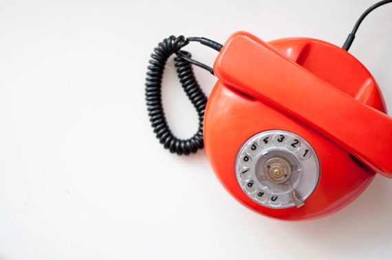 Vintage Rotary phone - orange - Vintage Home Decor