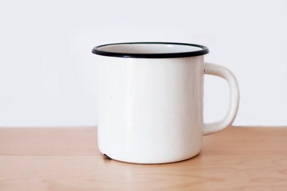 Vintage Big Enamel Mug - white - made in Soviet Union