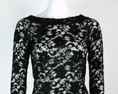 90s Black Lace Shirt Long Sleeve Size M