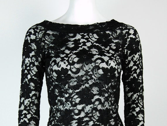 90s Black Lace Shirt Long Sleeve Size M