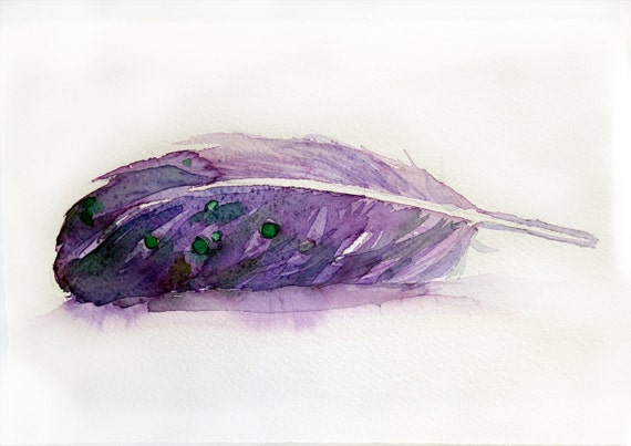 Watercolor feather painting-Original art-Violet feather in watercolor 7.5/11 inches