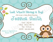 Custom Blue and Brown Owl Boy Baby Shower Invitation