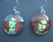 Poison Ivy Glass Resin Earrings