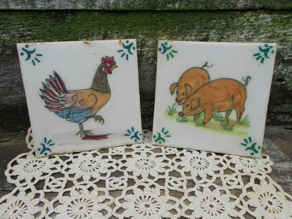ANIMAL TRIVET TILES -From Portugal 1 - Pig and 1 - Rooster Tiles or Trivets - Vintage, Excellent Condition