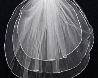 Handworked Ribbon Edge Short Wedding Veil 2012, White Wedding Veil, Ivory Wedding Veil