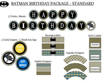 Batman Birthday Party Package  - Instant Download