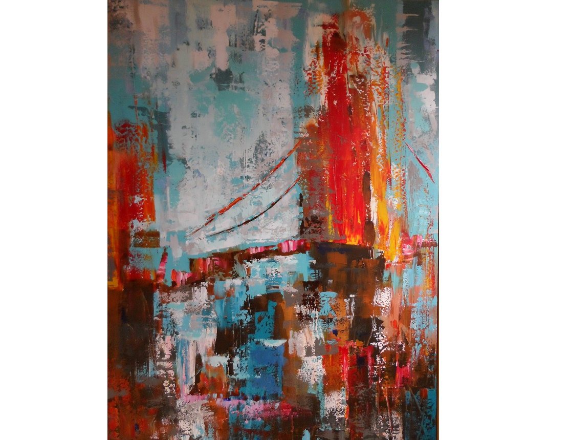 The bridge.It is a large abstract painting with acrylic on