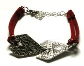 Red Suede Tribal Friendship Bracelet With Silver Double Arrow Charm