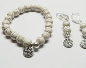 Gemstone White Howlite and Bali Silver Beaded Stretch Bracelet and Earring Set
