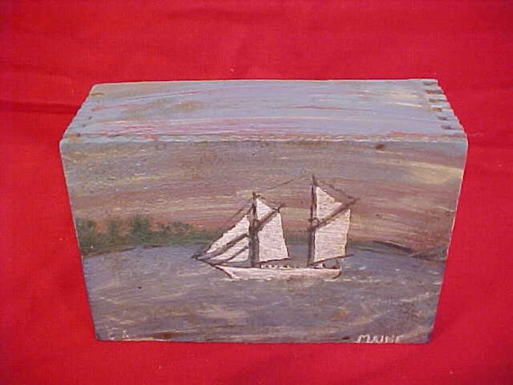 Vintage Salt Cod Advertising Wood Box Folk Art Painted Maine Ocean Scene w/ Sardine Schooner Nautical Decor