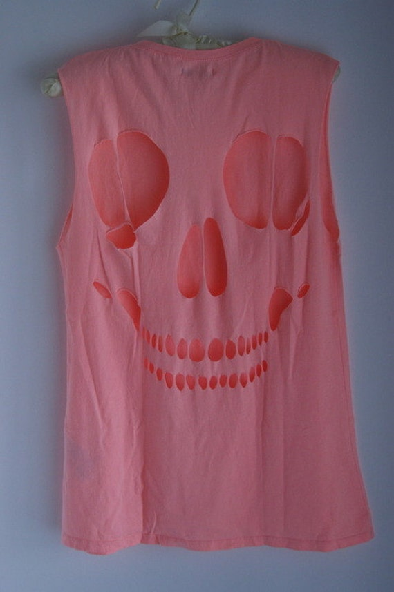 Items similar to Skull Cut Out Tee Shirt on Etsy