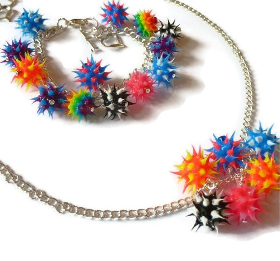 Quirky Multicoloured Spiky Rubber Bead Bracelet and Necklace Set.