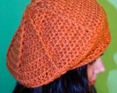 Orange hat beret beanie cap handmade crochet unique