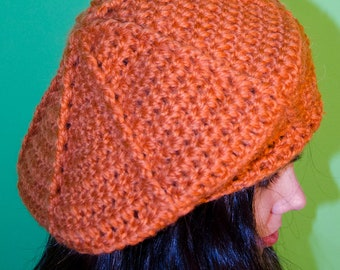Orange hat beret beanie cap handmade crochet unique