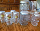 9 pc. Vintage Hoosier Cabinet Jar, hoosier jar, Hoosier Jar, Canisters, Coffee Jar, Tea Jar, Spice Jars and Shaker Jars