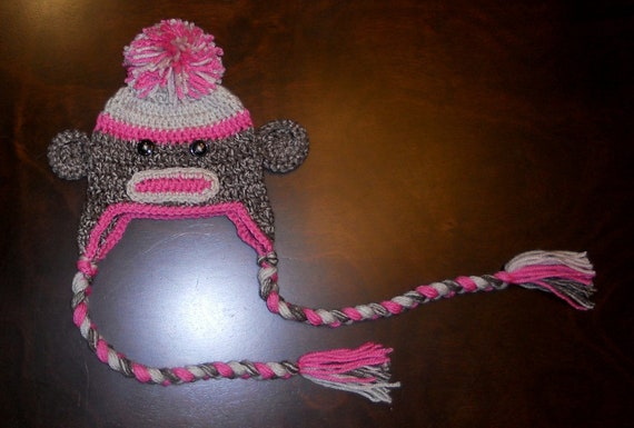Free Crochet Pattern Monkey Diaper Cover : Crochet Sock Monkey Earflap Hat & Diaper Cover Set Handmade