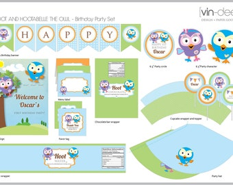 Hoot and Hootabelle Birthday Party Set - DIY Printable