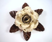 Large Metal Hand Cut and Hand Painted Rustic Cream Color Antique White Color Rose Mounted on a Bed of Metal Leaves.