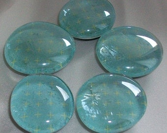 5 Large Light Blue Glass Marble Magnets