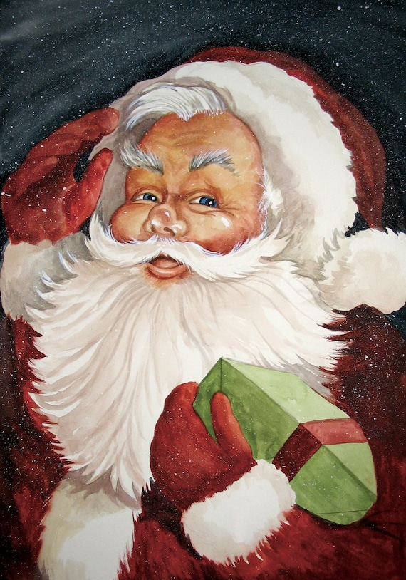 Items Similar To Old Fashioned Vintage Santa Claus Print