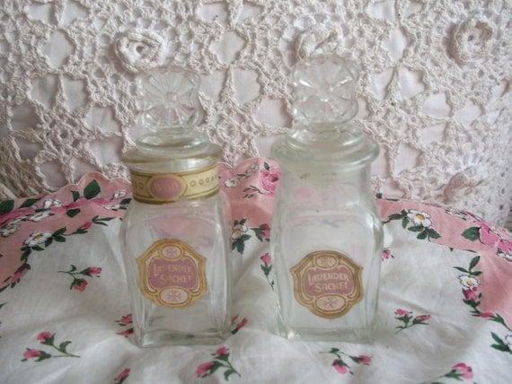 2 Avon Lavender Sachet collectible bottles 1960's
