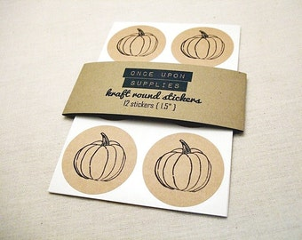 Kraft Round Stickers - Autumn Pumpkin - Circle Labels 1.5-inch Envelope Seals Scrapbook Embellishments Autumn Crafts