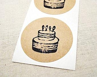 """30 Kraft Round Stickers - Children's Party Supplies - 1.5"""" Birthday Cake Stickers - Envelope Seals Scrapbook Embellishments"""