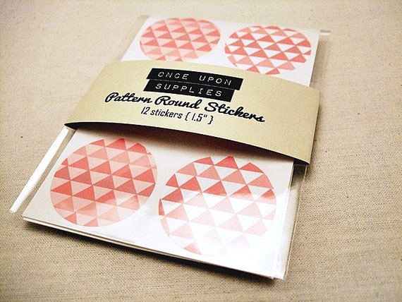 "Round Labels 1.5"" Pink Triangles Pattern 12ct Envelope Seals Embellishments Circle Stickers Geometric Pattern"